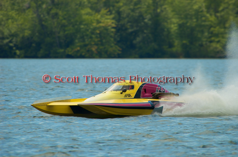2.5 Liter Modified hydroplane Geezerboat (A-23) driven by Mike Monohan racing at the 2010 Syracuse Hydrofest held at Onondaga Lake Park near Liverpool, New York on Sunday, June 20.