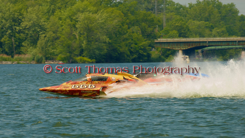 5.0 Liter Stock hydroplane El Diablo (CE-666) driven by Ghislain Marcoux on the course at the 2010 Syracuse Hydrofest  held at Onondaga Lake Park near Liverpool, New York on Saturday, June 19.