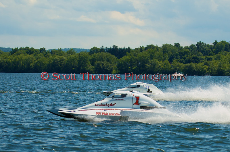 1.5 Liter hydroplanes Shameless Say What? (T-1) and Chaotic Dream (T-27) line before a race at the Syracuse Hydrofest 2010 held at Onondaga Lake Park near Liverpool, New York on Sunday, June 20.