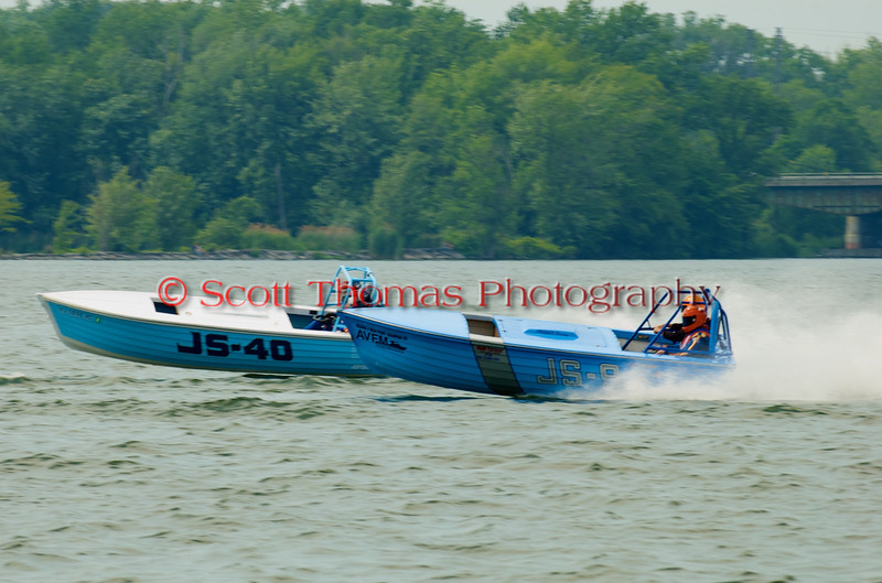 Jersey Skiffs JS-9 and JS-40 on the course at the 2010 Syracuse Hydrofest  held at Onondaga Lake Park near Liverpool, New York on Saturday, June 19.