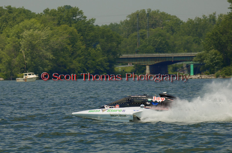 5.0 Liter Stock hydroplane Scorpion (CE-149) driven by Jean-Pierre Morin on the course at the 2010 Syracuse Hydrofest  held at Onondaga Lake Park near Liverpool, New York on Saturday, June 19.