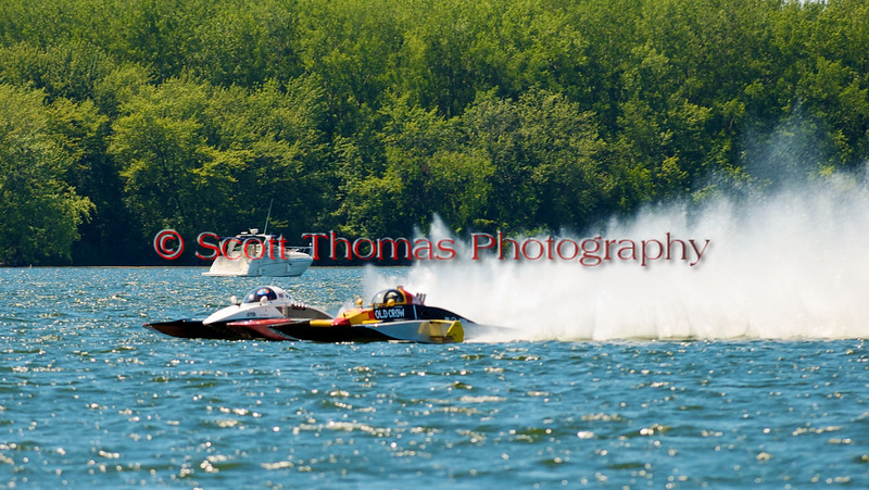 2.5 Liter Modified Hydroplanes Fat Chance (A-52) and Old Crow (A-600) racing side by side at the Syracuse Hydrofest 2010 held at Onondaga Lake Park near Liverpool, New York on Sunday, June 20.