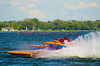 1.0 Liter Modified hydroplanes Roostertails (Y-52) and Outlaw (Y-80) racing down the backstretch at the 2010 Syracuse Hydrofest held at Onondaga Lake Park near Liverpool, New York on Sunday, June 20.