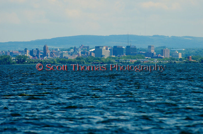 City of Syracuse skyline from the Turn Three Official's boat duirng the 2010 Syracuse Hydrofest held at Onondaga Lake Park near Liverpool, New York on Sunday, June 20.