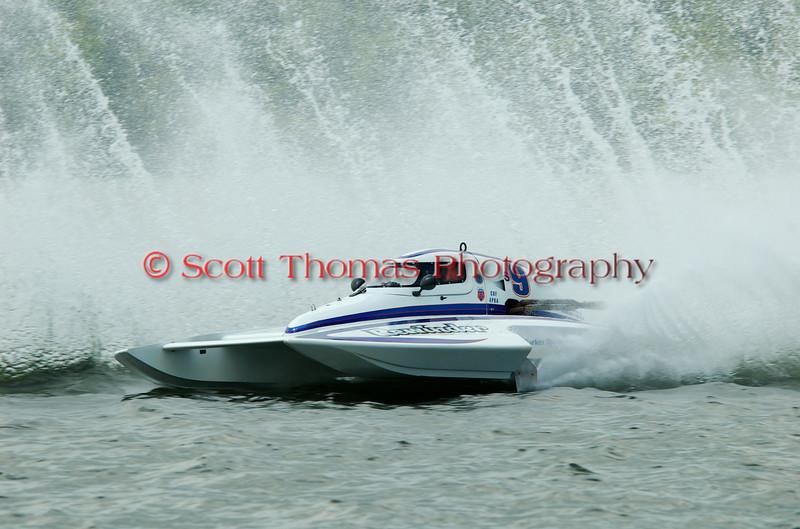 2.5 Liter hydroplane Rewinder (S-9) driven by Mark Johnson racing at the 2010 Syracuse Hydrofest held at Onondaga Lake Park near Liverpool, New York on Sunday, June 20.