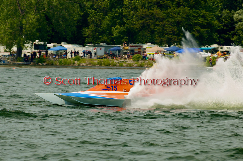 Grand National Hydro  hydroplane One Way (GNH-515) driven by Cadi Reiss on the course at the 2010 Syracuse Hydrofest  held at Onondaga Lake Park near Liverpool, New York on Saturday, June 19.