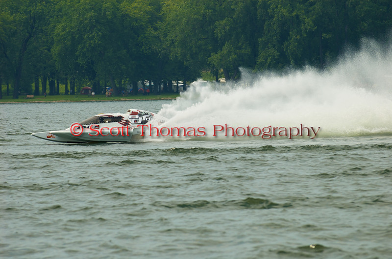 Grand Prix  hydroplane ADF Desiel (GP-46) driven by Pierre Maheu on the course at the 2010 Syracuse Hydrofest  held at Onondaga Lake Park near Liverpool, New York on Saturday, June 19.