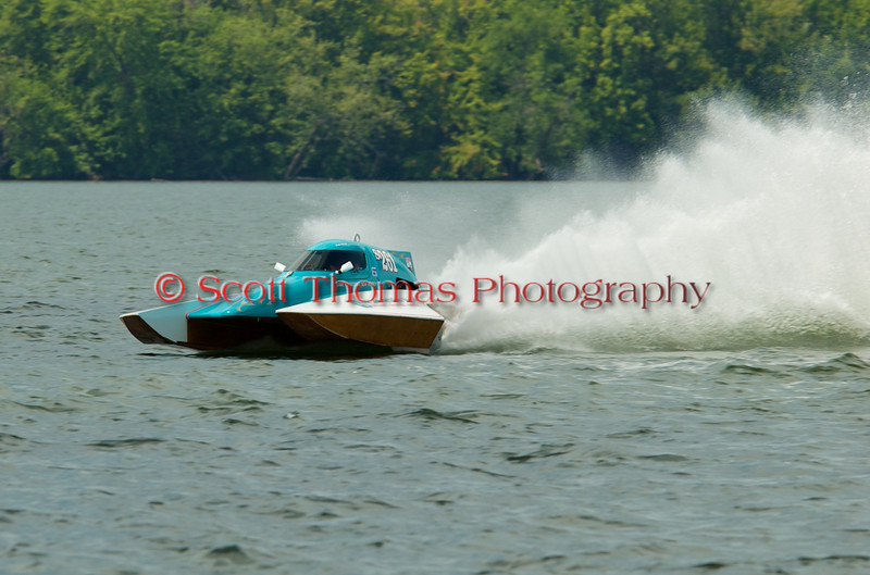 2.5 Liter hydroplane Sealand Specialties (S-261) driven by Chris Thompson racing at the 2010 Syracuse Hydrofest held at Onondaga Lake Park near Liverpool, New York on Sunday, June 20.