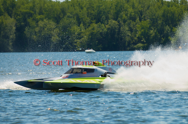 5.0 Liter Stock hydroplane Adrenaline Rush (CE-13) driven by Derec Smith racing on the course at the 2010 Syracuse Hydrofest held at Onondaga Lake Park near Liverpool, New York on Sunday, June 20.