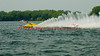 National Modified  hydroplanes Big Bird (NM-30) and Illusion(NM-928) race down the front stretch at the 2010 Syracuse Hydrofest  held at Onondaga Lake Park near Liverpool, New York on Saturday, June 19.