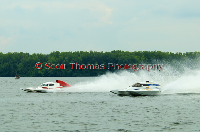 Grand Prix hydroplanes Brodie Motorsports (GP-50) and Rolling Thunder (GP-88) racing at the 2010 Syracuse Hydrofest held at Onondaga Lake Park near Liverpool, New York on Sunday, June 20.