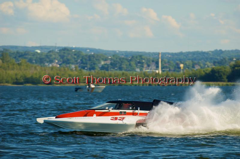 Grand National Hydro hydroplane nnnnnn (GNH-33) driven by nnnnnnnnnn racing at the 2010 Syracuse Hydrofest held at Onondaga Lake Park near Liverpool, New York on Sunday, June 20.