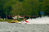 Grand Prix hydroplanes the Long Gone (yellow, GP-7) and Brodie Motorsports (GP-50) race side by side at the 2010 Syracuse Hydrofest  held at Onondaga Lake Park near Liverpool, New York on Saturday, June 19.