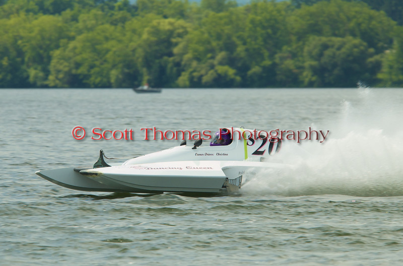 2.5 Liter hydroplane Dancing Queen (S-20) driven by Christina Wilson racing at the 2010 Syracuse Hydrofest held at Onondaga Lake Park near Liverpool, New York on Sunday, June 20.