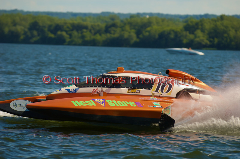 5.0 Liter Stock hydroplane Haute Tension (CE-16) driven by Sam Page-Morin on the course at the 2010 Syracuse Hydrofest  held at Onondaga Lake Park near Liverpool, New York on Sunday, June 20.