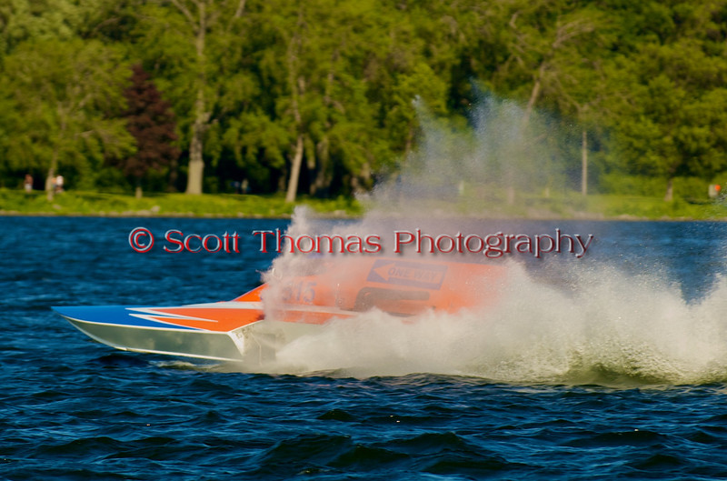 Grand National Hydro hydroplane One Way (GNH-515) driven by Cadi Reiss racing at the 2010 Syracuse Hydrofest held at Onondaga Lake Park near Liverpool, New York on Sunday, June 20.