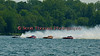 5.0 Liter Stock Inboard Hydroplanes lining up for the start of a heat race during the  2010 Syracuse Hydrofest held at Onondaga Lake Park near Liverpool, New York on Saturday, June 19. From left to right, Scorpion (CE-149), CE-2, El Diablo (CE-666) and OCR Race Team (CD-99).