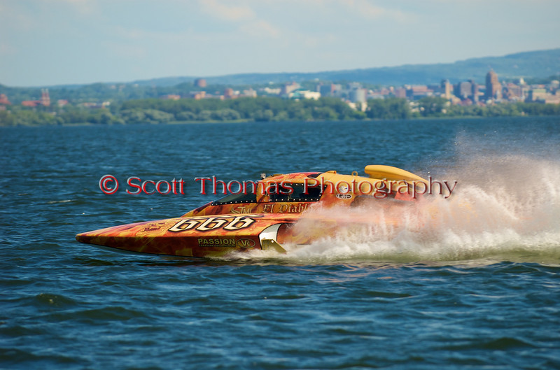 5.0 Liter Stock hydroplane El Diablo (CE-666) driven by Ghislain Marcoux on the course at the 2010 Syracuse Hydrofest  held at Onondaga Lake Park near Liverpool, New York on Sunday, June 20.