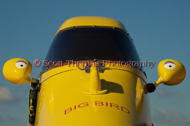 Big Bird, a 5.0 Liter Stock hydroplane, sits high in the pits waiting to be hoisted into the Onondaga Lake at the 2010 Syracuse Hydrofest  held at Onondaga Lake Park near Liverpool, New York on Sunday, June 20.