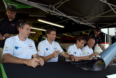 Team Corvette left Tommy Milner, Oliver Gavin, Antonio Garcia, and Jan Magnussen