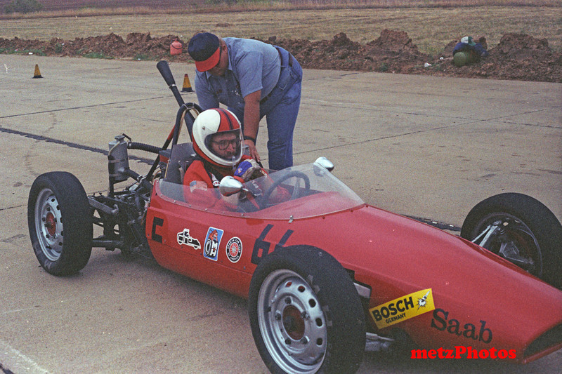 Formula Saab, at Salina, Kansas, National Championships, 1980.  Powered by a three cylinder, 2 cycle Saab 850cc engine,  Larry and Len Lanvermeyer were car owners and exceptional mechanics that made it possible for us to run the car for the few years that we had it.  We sold it to an old racer out of Florida who wanted to restore it to its road racing condition.