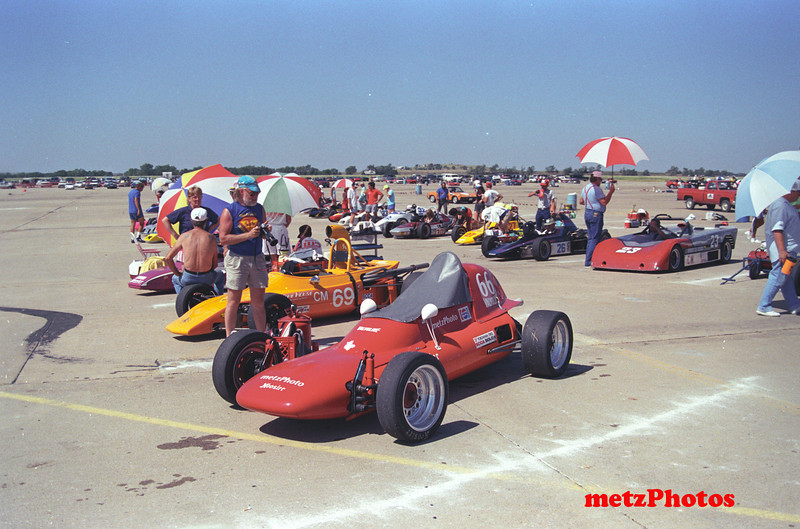 Grid for C modified class at Salina, Kansas, 1990 National Solo 2 Championships.  We took two cars to the national champions at Salina, Kansas that year, this Solo vee for Solo 2 competition, and the Albatros for Solo 1 competition.