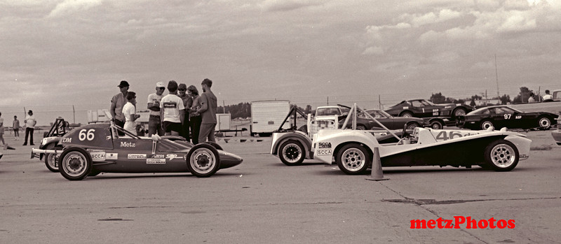 1987 National Championships at Salina, Kansas, D modified cars in line, #46 is winner, Ron Flier, and #66 placed 16th. (1600cc engine)