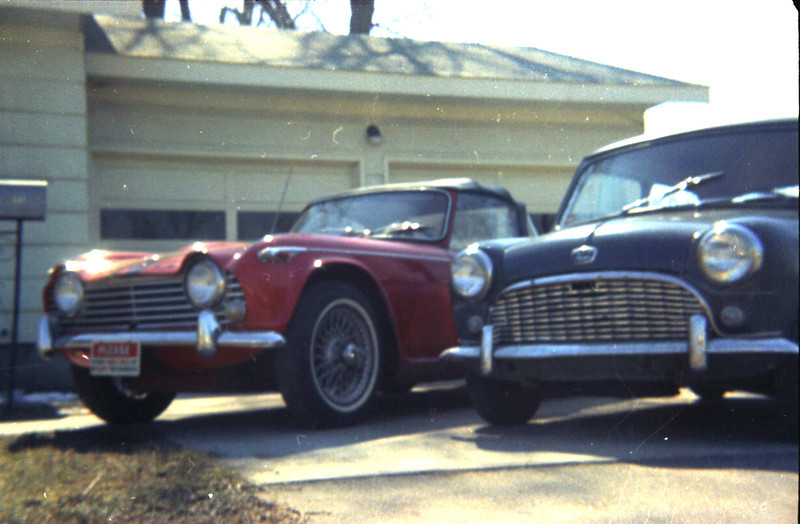 1968, TR-4 and Austin at our Elkhart rental place.
