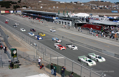 Start of Monterey Motorsports Reunion race from the tower 2011