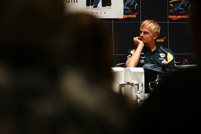 Heikki Kovalainen listens to a question at the FOTA Forum Meeting, Canadian Grand Prix, Thursday, June 9, 2011.