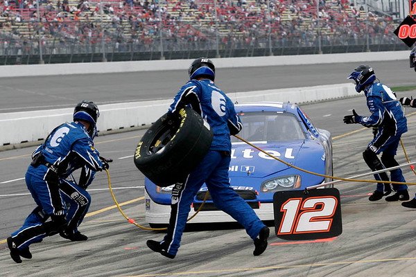 Ryan Newman come in for a pit stop at Michigan