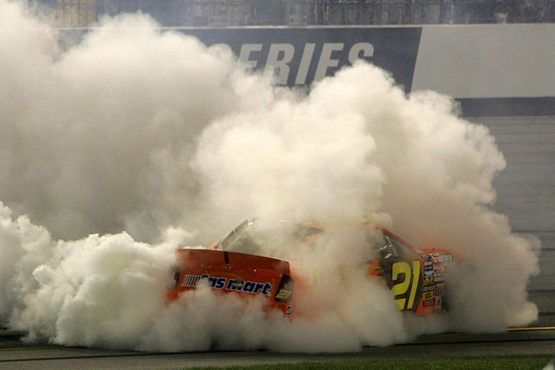 a burnout by Kevin Harvick.