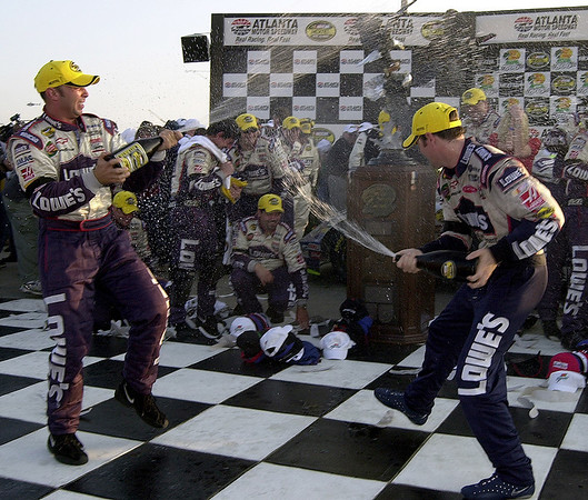 victory lane in Atlanta after the Martinsville tragedy.