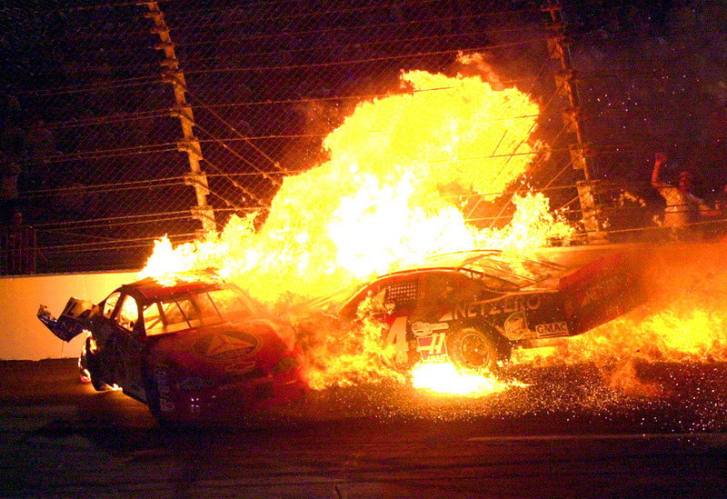 Aston Lewis and Jack Sprague are involved in a fiery  crash in the Richmond Busch Series race.