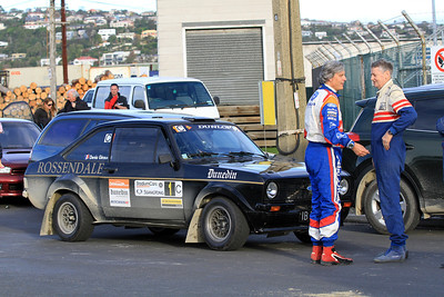 Start SS7 Tarmac Super Special, Denis Giraudet (L) and Carl Rabbidge (R).