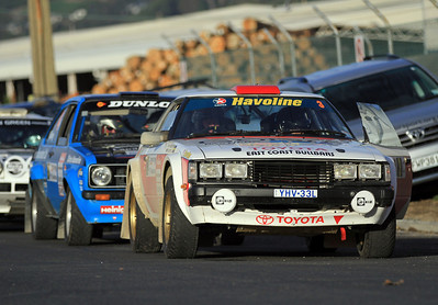 Start SS7 Tarmac Super Special, Neal Bates/Coral Taylor, Toyota Celica RA40.