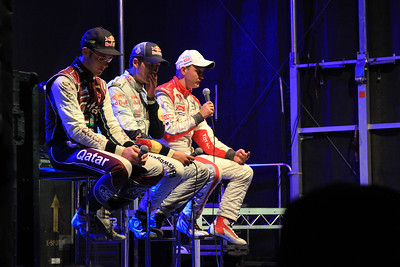 Medai Conference saturday - Thierry Neuville, Sebastian Ogier and Mikko Hirvonen.