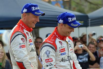 Mikko Hirvonen and Jarmo Lehtinen, Podium.
