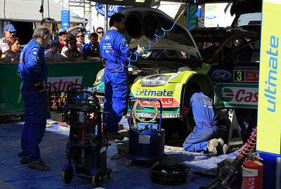 Ford Service end Day 2 - Miko Hirvonen's car.