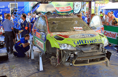 Jari-Matti Latvala's crashed car sits in the Ford Service area after being disallowed to compete further in the rally due to damage to the roll-cage.