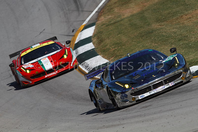 01 Extreme Speed Motorsports Scott Sharp / Tequesta, FL  Johannes van Overbeek / Oakland, CA Toni Vilander / Kankaanpaa, Finland Tequila Patr?n Ferrari F458 Italia Ferrari Michelin E-85 is followed through the esses by 60 AF Corse Ferrari Piergiuseppe Perazzini / Verona, IT Marco Cioci / Roma, IT Matt Griffin / Piacenza, IT F458 Italia Ferrari Michelin E-85