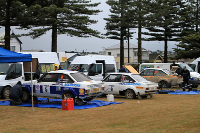 RallyExtreme Escort's (5 - Christain Kelders, 9 - Christophe Jacob, 26 - Peter Egerton) at Napier Service Park.