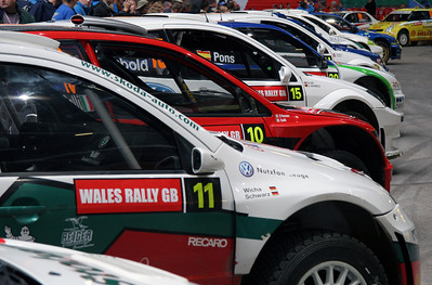 Parc Ferme, end of rally, Cardiff Stadium.