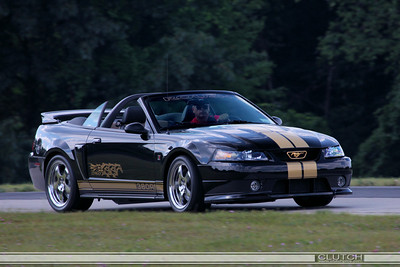 Black and Gold SN95 380R Roush Mustang Convertible at Waterford Hills Raceway: Paddock Turn