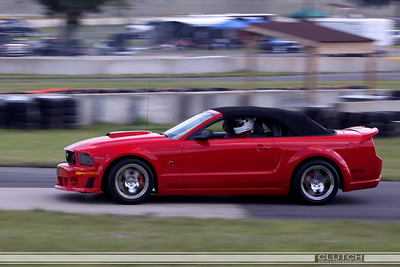 Red S197 Roush Convertible at Waterford Hills Raceway: Bottom of Turn 3