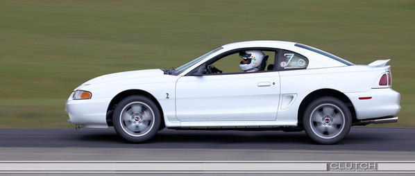 White SN95 Ford Mustang at Waterford Hills Raceway: Bottom of turn 3