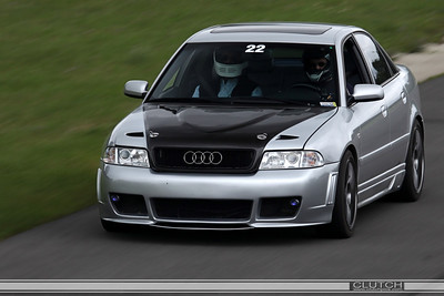 Silver Audi out of Swamp Turn at Waterford Hills Raceway