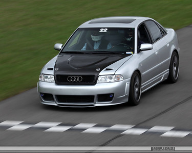 Silver Audi at the finish line - Waterford Hills Raceway