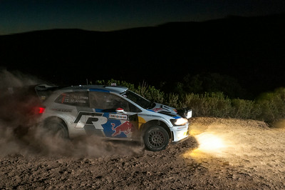 "Olbia, Italy 21.06.2013. Rally Italia Sardegna 2013, valid as italian stage of FIA World Rally Championship. Day 2. Special Stage 8 ""Gallura"". Volkswagen Polo R. Latvala/Anttila during the night stage."