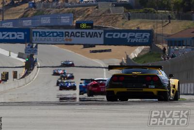 Team Falken Tire Porsche led early (here leading 23-West/AJR Ferrari and 4-Corvette)